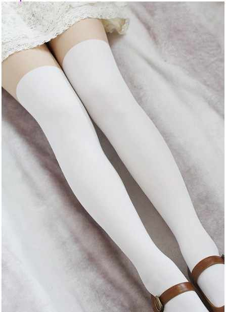 c29ebf37965 Princess sweet lolita pantyhose Up is skin color thigh under white tights  false high student spring