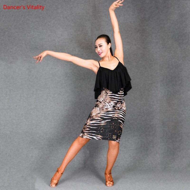 Sexy fronde danse latine robe lait Fiber fleur épissage léopard imprimé vêtements pour femmes danse latine scène Performance Costumes