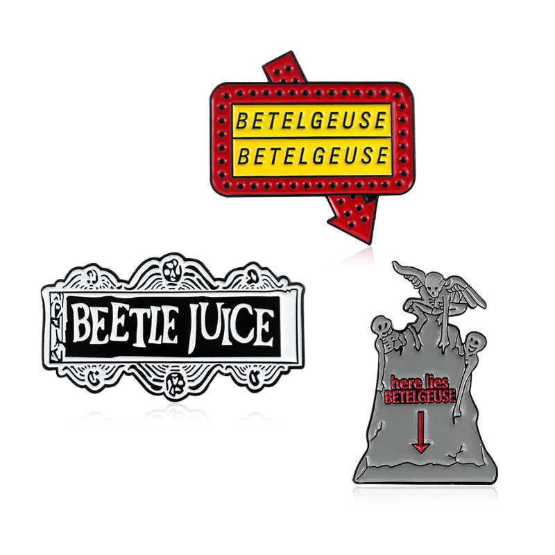 Horor Beetle Jus Bros Batu Nisan Hantu Di Sini Terletak Betelgeuse Dark Gothic Enamel Pin Lencana Komedi Penggemar Film Halloween Perhiasan