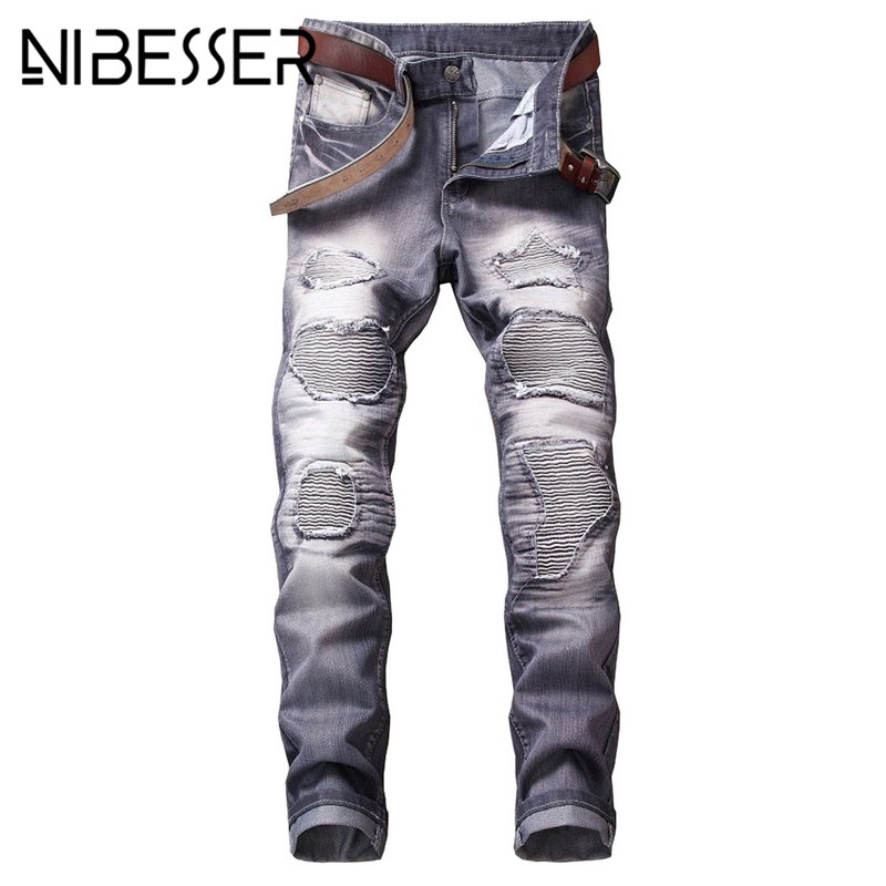 NIBESSER Male New Fashion 2018 Casual Pants Slim Beggars Hole Fashion Casual Regular Pan ...