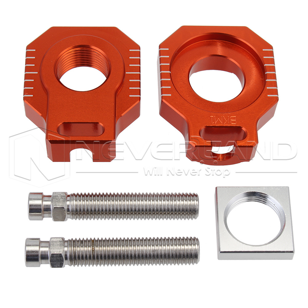 Orange CNC Motorcycle Billet Rear Axle Blocks Spindle Chain Adjuster Block for KTM 125-530 EXC/EXC-F/XC-W/XCF-W 2007-2016 D20 meziere wp101b sbc billet elec w p