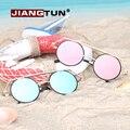 JIANGTUN 2017 Venda Hot Sale Oval Espelho Gótico Dupla Ponte óculos de Sol Designer de Óculos de Sol Do Vintage Uv400 Oculos Feminino