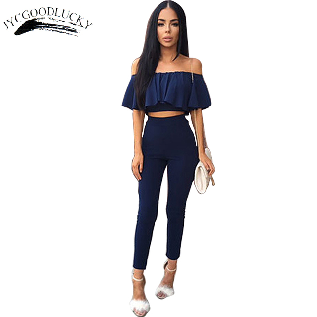 Fashion Ruffles Cropped Top And Pants Ankle Length Pants Spring Wearing Slash Neck Sexy Elegant Women 2 Piece Sets Plus Size