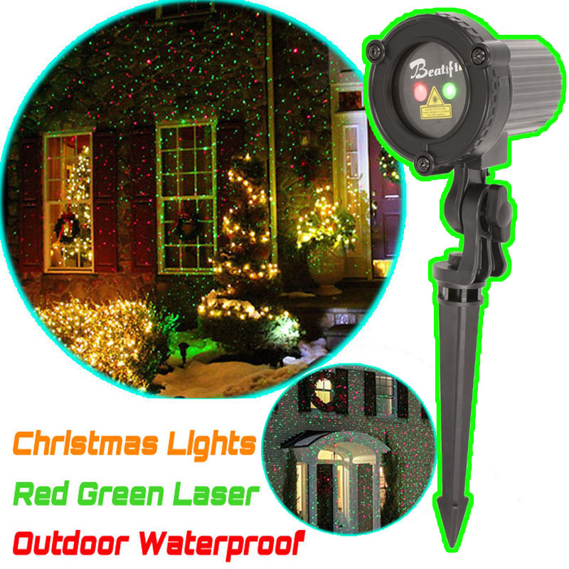 Christmas Star Lights Outdoor Laser Shower Projector Christmas Tree Decoration Red Green Color Mix