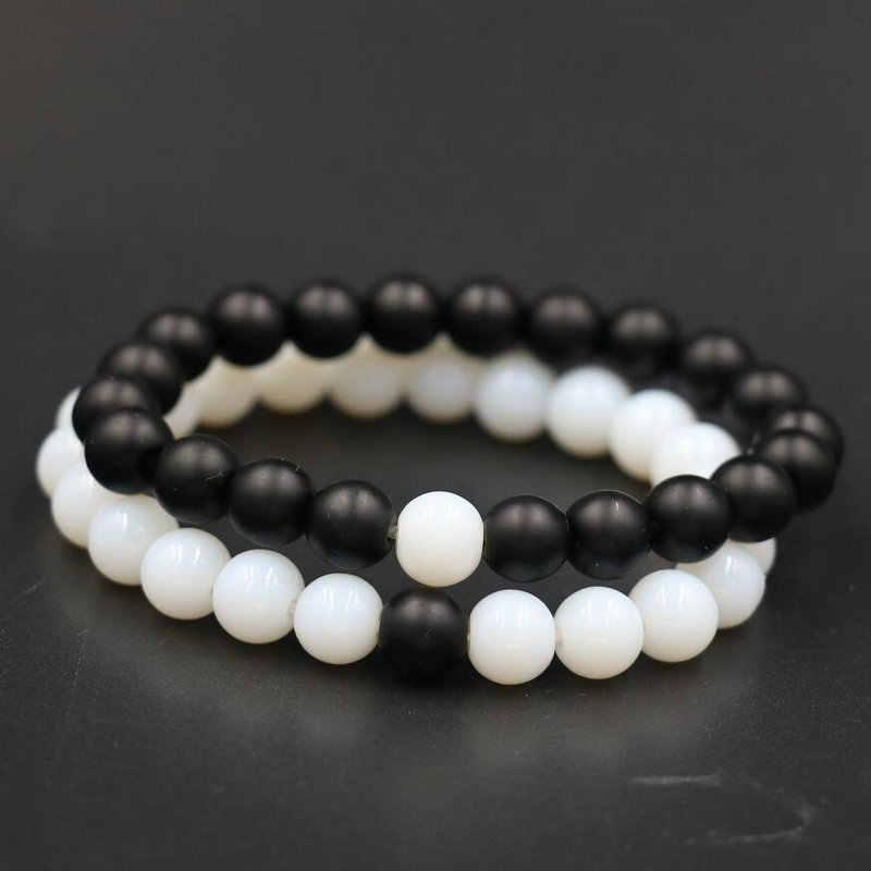 BPPCCR piedra blanca Zodíaco piedra mate negro blanco mármol patrón Buda cuentas hombres amantes Fitness Chakra pulseras de yoga