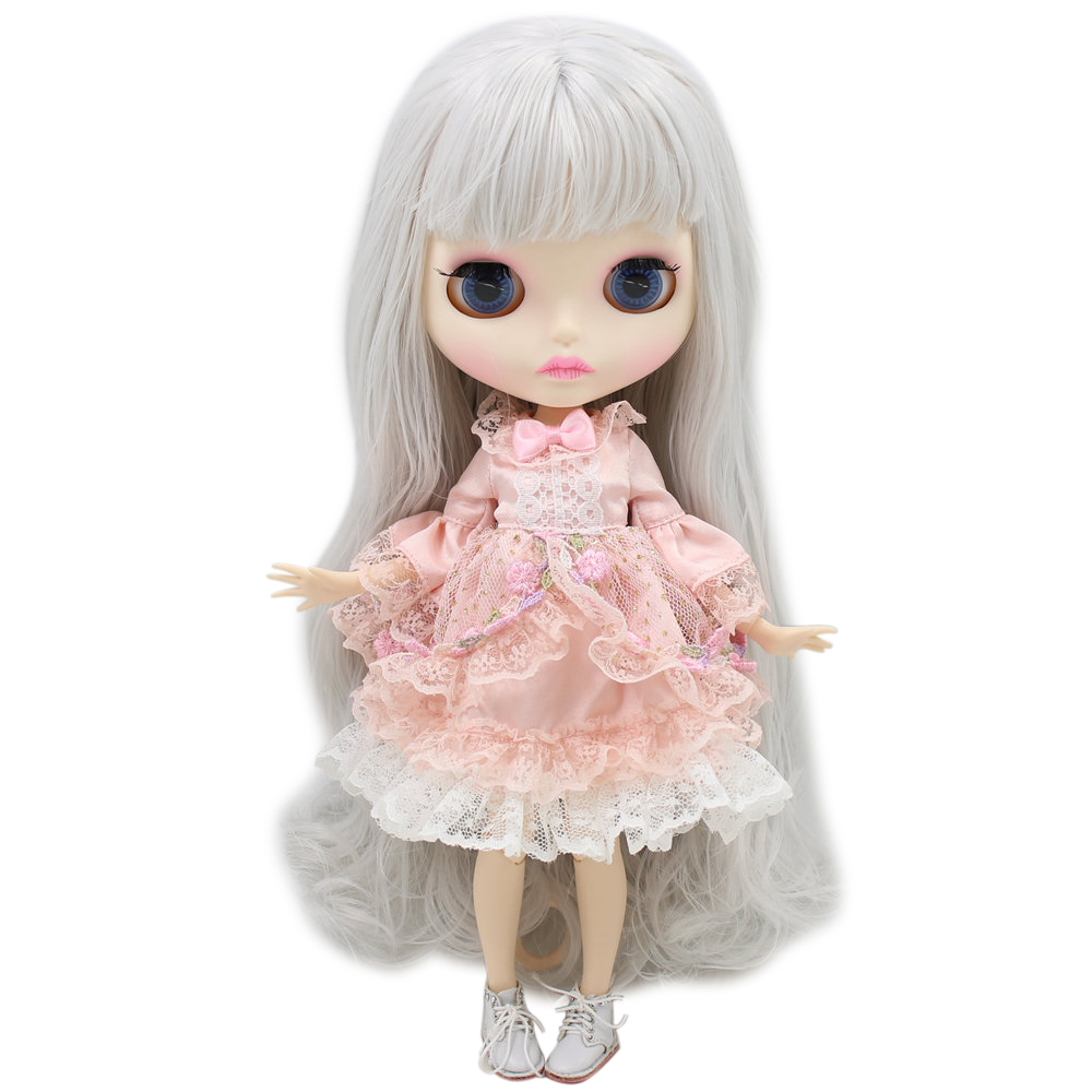 ICY Nude Blyth Doll For Series No 280BL1003 Grey hair Carved lips Matte face Joint body