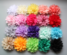 wholesale 20color fascinator Chiffon Fabric Flower white flat on back Hair Accessories 200pcs/lot free shipping