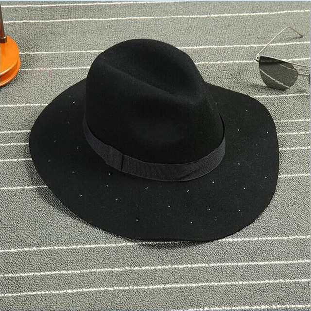 Alta Calidad 2016 Nuevo Patrón de Europa 100% Gorro De Lana coreana de Lana Fina sombrero de Las Mujeres de Los Hombres Retro De Lana De Jazz Sombrero envío