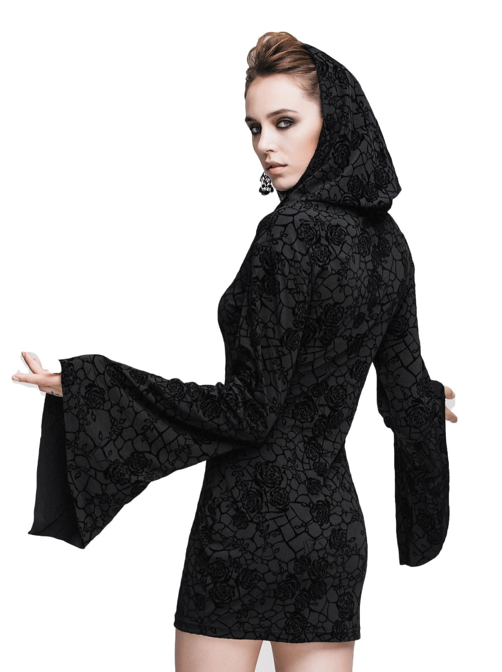 Steampunk Gothic Ukraine Black Dresses For Women Roses Print Flocking Knitted Dress With Hooded Long Sleeve Women Clothing 11