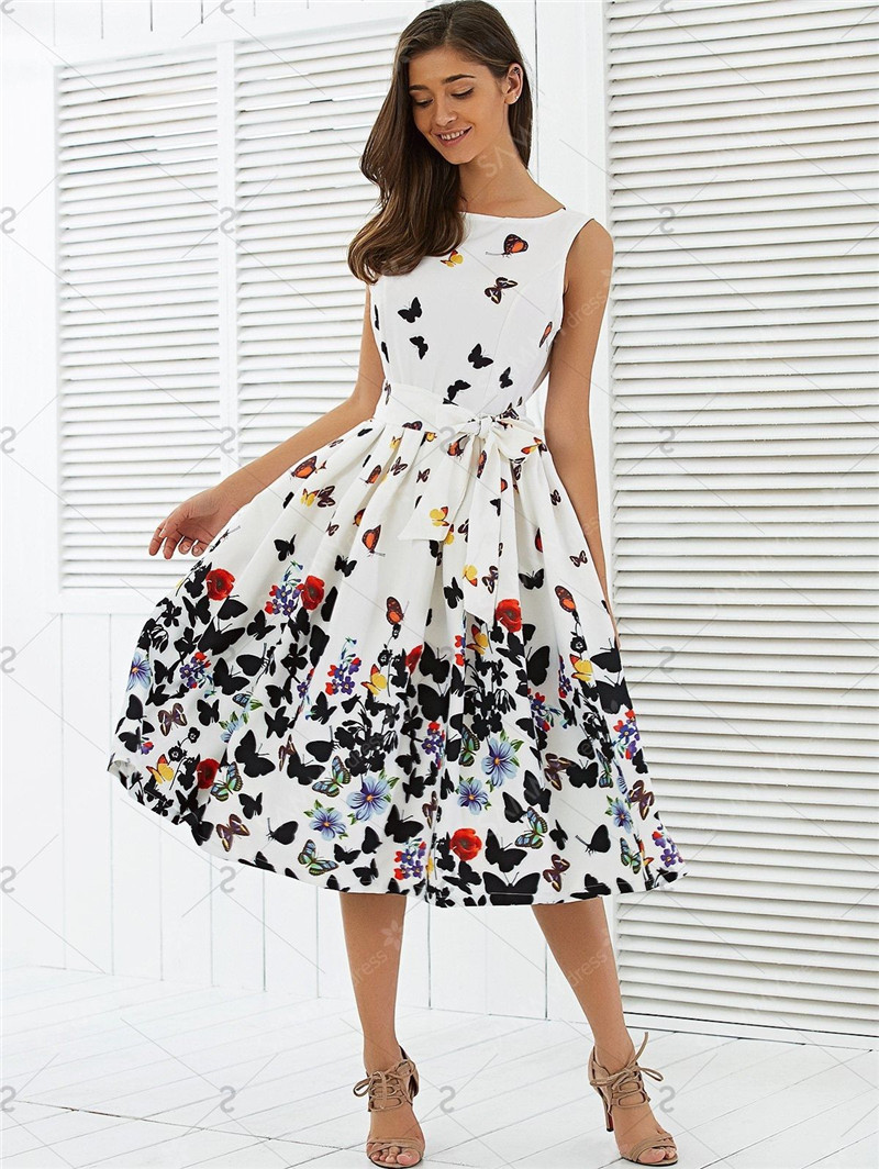 Fashion Dresses Accessories: New Fashion Women Vintage Dress Butterfly Printing