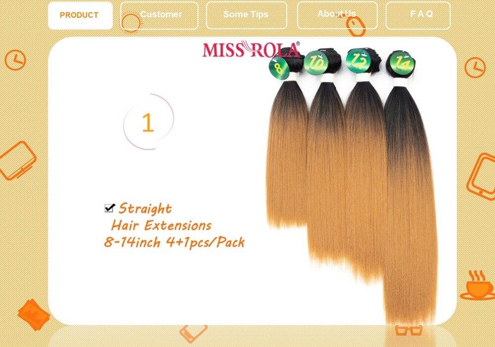 Miss rola cabelo liso, cabelo sintético ombré