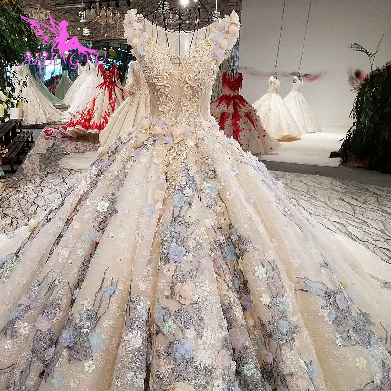 Aijingyu Wedding Dresses Plus Size Flowers Long Sleeve Self Simple Royal Luxury Lace Gowns Wedding Dress French Wedding Dresses