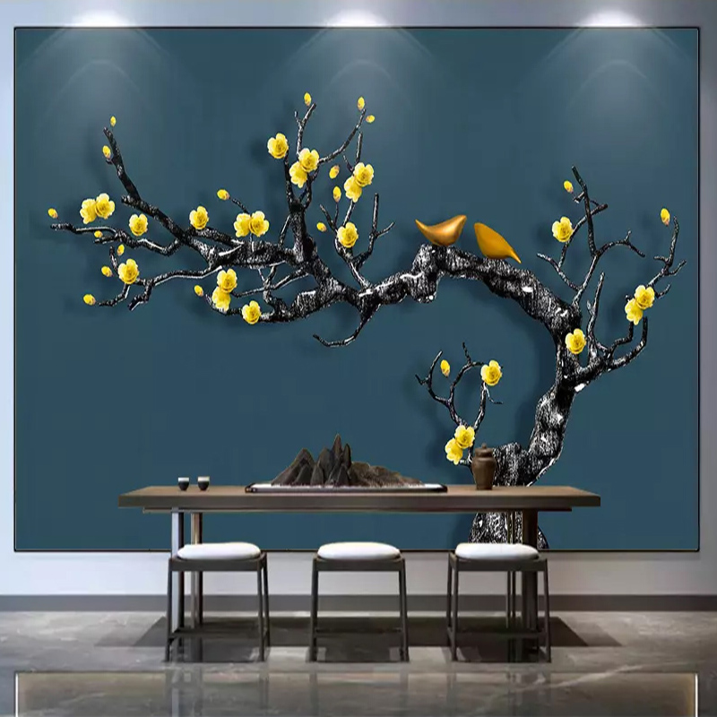 Custom Photo Mural Wallpaper New Chinese Style Flowers Birds Decorative Painting Wallpaper For Living Room Bedroom TV Background