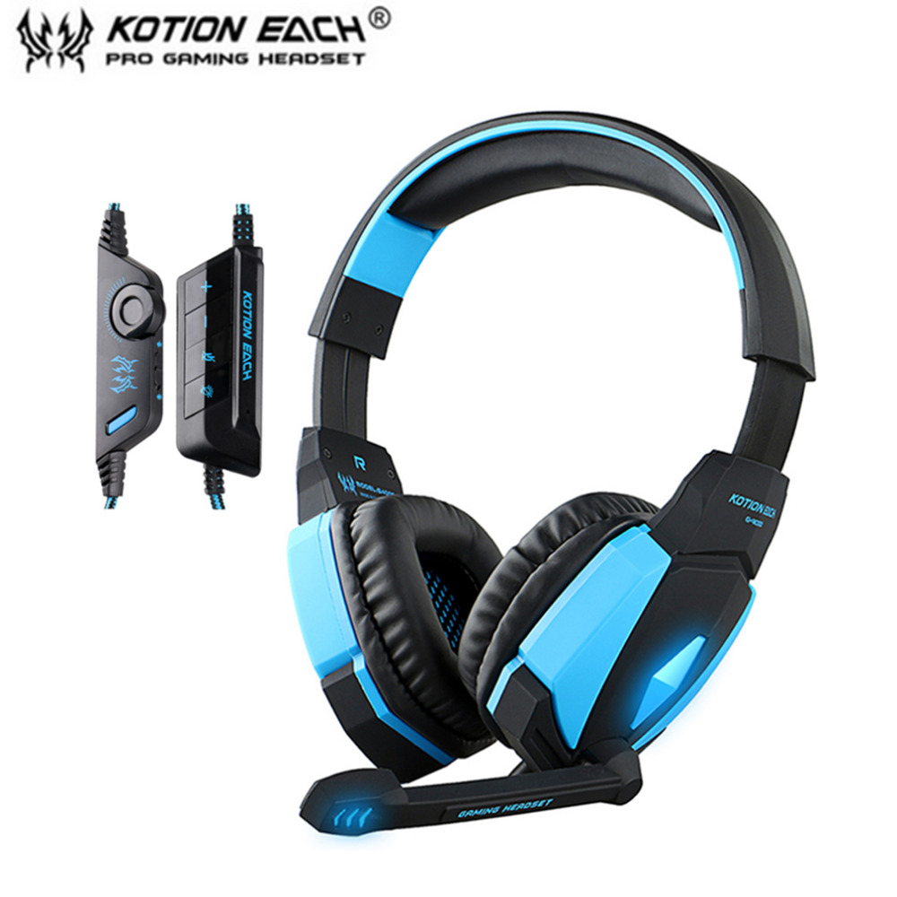 Kotion EACH G4000 USB Version Professional Gaming Headphone Headset Headband With Microphone Volume Control LED Light For Games each g8200 gaming headphone 7 1 surround usb vibration game headset headband earphone with mic led light for fone pc gamer ps4