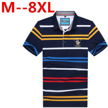 Plus size 10xl 9xl 8xl 7xl 6xl 5xl Cotton camisa Men Polo Shirt 2017 Casual Striped Slim short sleeves big large size loose