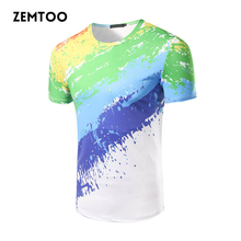 Personality Men's Fashion 3D ink T-shirts Men's Brand Casual Tee Tops Male Summer Cotton Short Sleeve T-shirt Homme  ZM0175