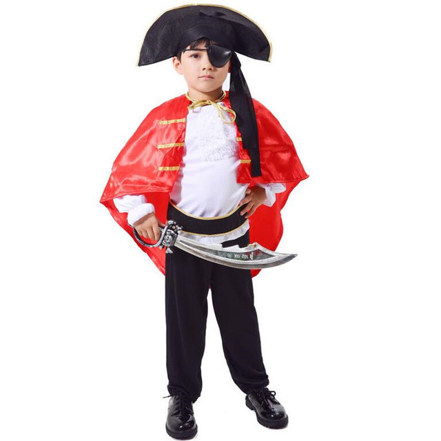 2018 Kids Boys Pirate Costume With Red Cloak Children Performance Pirates Cosplay Costumes Fancy Dress Party  sc 1 st  AliExpress.com & 2018 Kids Boys Pirate Costume With Red Cloak Children Performance ...