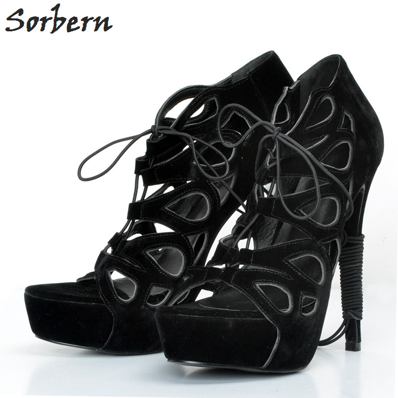 Sorbern Black Women Pumps Plus Size High Heel Pumps Plus Size Luxury Shoes Women Designers Lace Up Hollow Side 2017 New Arrive lace panel cold shoulder asymmetrical plus size tee