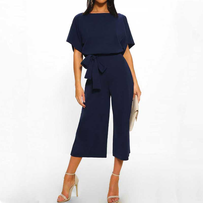 Summer Straight   Jumpsuit   Women 2019 Loose Long   Jumpsuit   Female Casual   Jumpsuits   For Women Short Sleeve High Waist   Jumpsuit   Lady