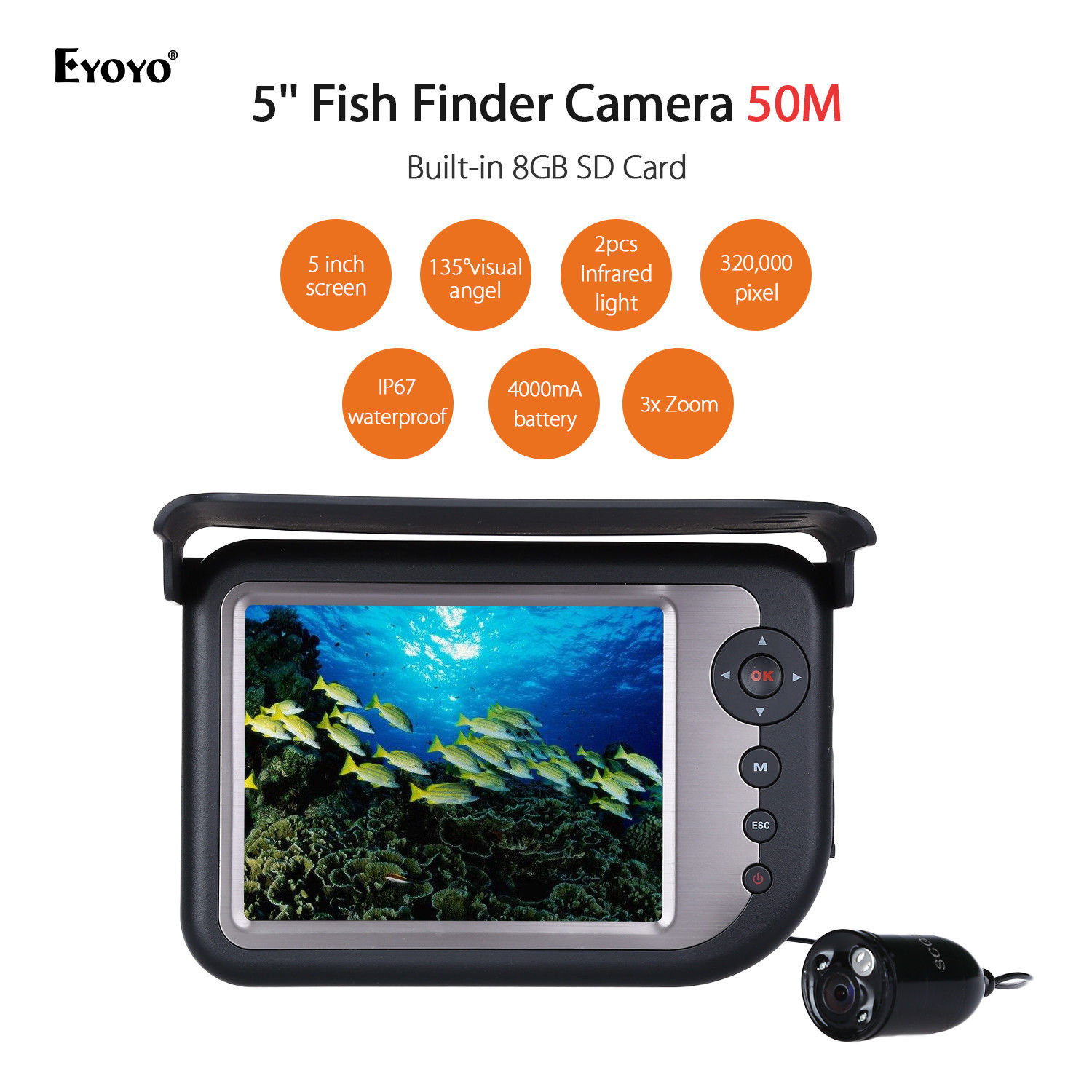 EYOYO LQ-5050DR 50M 5 Infrared Underwater Fishing Camera DVR LCD Monitor 3x Digital Zoom Sun Visor 135degree Wide Angle USB удлинитель zoom ecm 3
