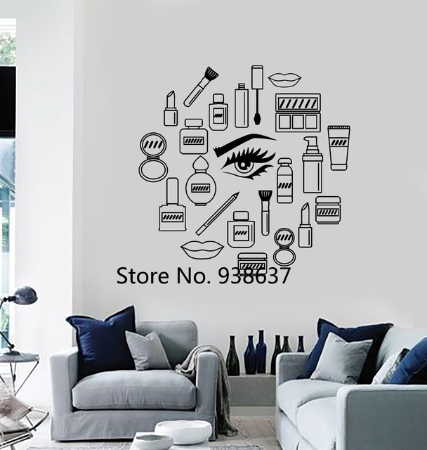 Vinyl Removable Wall Art Decal Living Room Home Decoration Makeup Cosmetics  Woman Girl Beauty Shop Wall