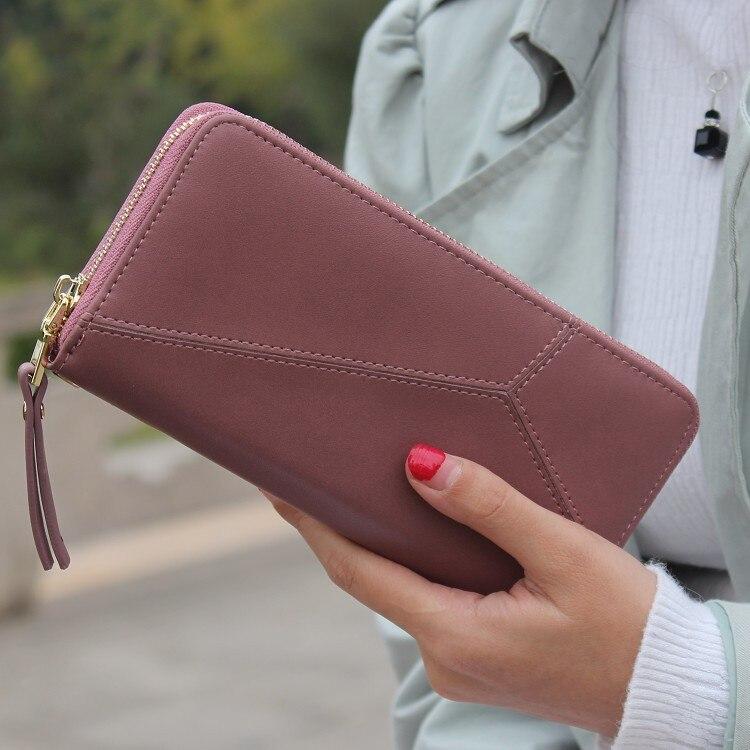 Geometrica Wristband Donne femminile Portafoglio zip lunga raccoglitore della moneta della borsa di marca di nuovo Modo delle donne della borsa di grande capacità del telefono frizione