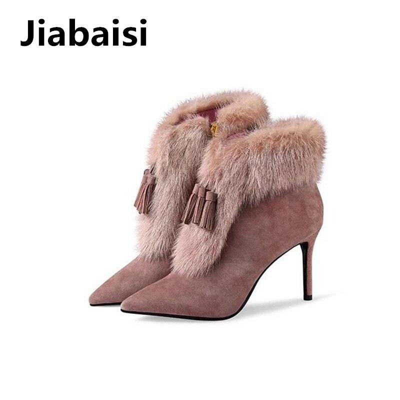 Jiabaisi damesschoenen dames Kwastjes Konijn Echte vacht Puntschoen - Damesschoenen
