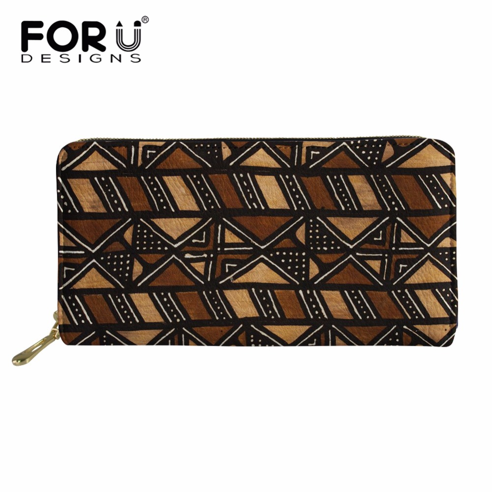 Womens Wallets African Tribal Paintings Leather Passport Wallet Coin Purse Girls Handbags