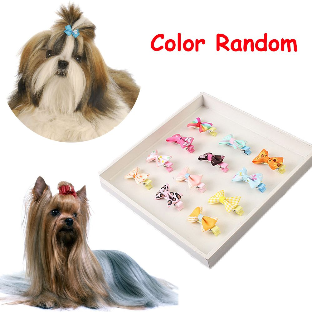 5PCS Color Random Dog Kitten Puppy Cute Pet Butterfly Hair Clips Hair Barrette Grooming Floral Solid Cotton Bow Flower Hairpins