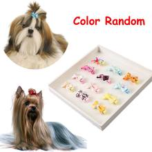 5PCS Color Random Dog Kitten Puppy Cute Pet Grooming Floral Solid Cotton Bow Flower Hairpins Butterfly Hair Clips Hair Barrette(China)