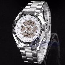 Deporte hombres Dial de Acero Inoxidable Reloj Mecánico Transparente