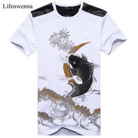New Fashion Plus Size 6XL Mens T Shirt Fashion Chinese Style Goldfish Embroidery Short Sleeve T