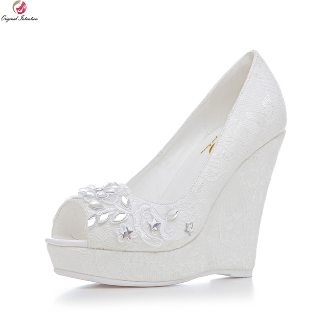 Original Intention Super Elegant Women Wedding Pumps Fashion Lace Peep Toe Wedges Gorgeous White Shoes Woman