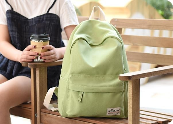 Hot Sale Simple Korean Style Pure Candy Color Canvas Women Backpack College Student School Book Bag