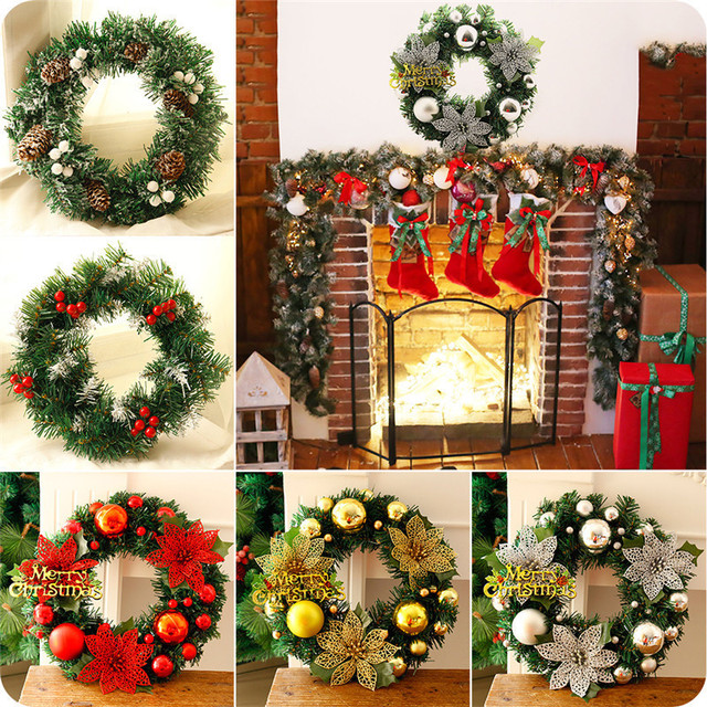 Christmas Wreath Pine Needles Band Merry Christmas Garland Balls With Flowers Door Wall Hangings Nice Gift & Christmas Wreath Pine Needles Band Merry Christmas Garland Balls ... pezcame.com