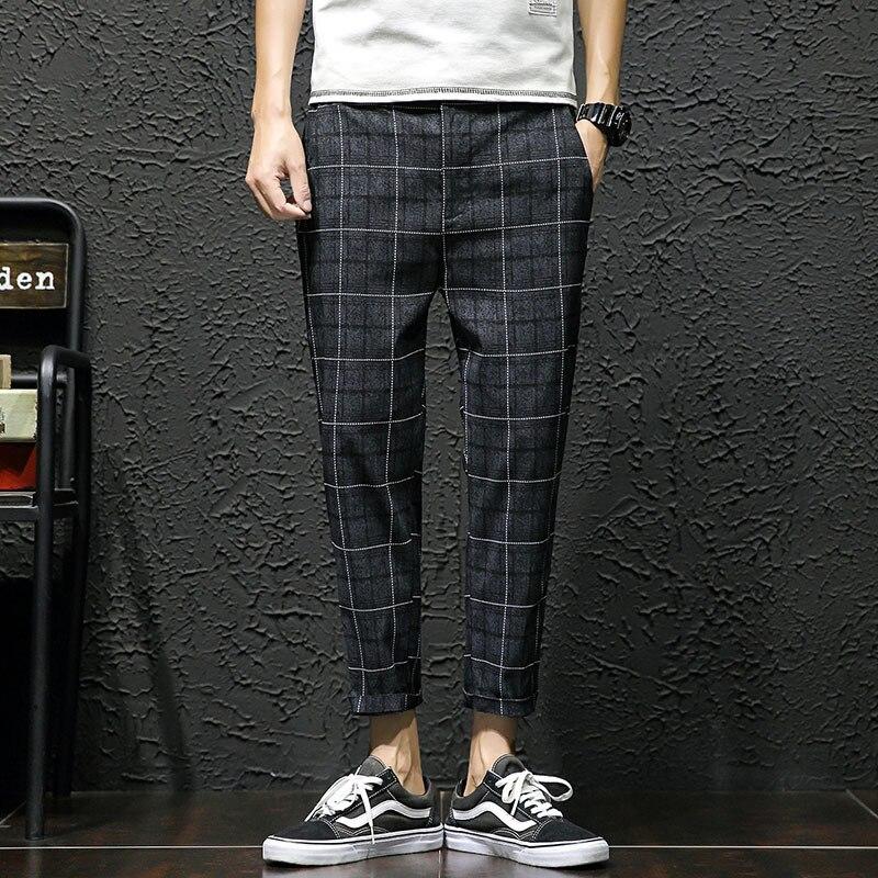 2018 летние новые девять ноги маленький конус плед свободные повседневные мужские штаны-шаровары личности моде классические тенденция молод...