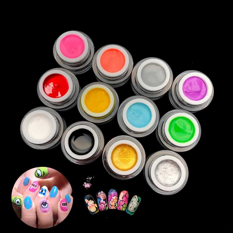 Mizhse 3D Nail Art Verf Kleur Gel Diy Nail Art Kleuren Draw Schilderij Acryl Kleur Uv Gel Tip 12 Kleuren schilderij Gel In Nail Hot