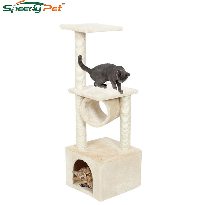 Binnenlandse levering H110cm Cat Toy Kitten House krabpaal Hout Klimmen Cat Tree Pet Home Cat Luxe Jumping Frame Furniture