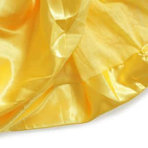 Image 5 - MUABABY Girls Belle Dress up Princess Costume Children Off Shoulder Layered Yellow Party Ball Gown Carnival Kids Dress