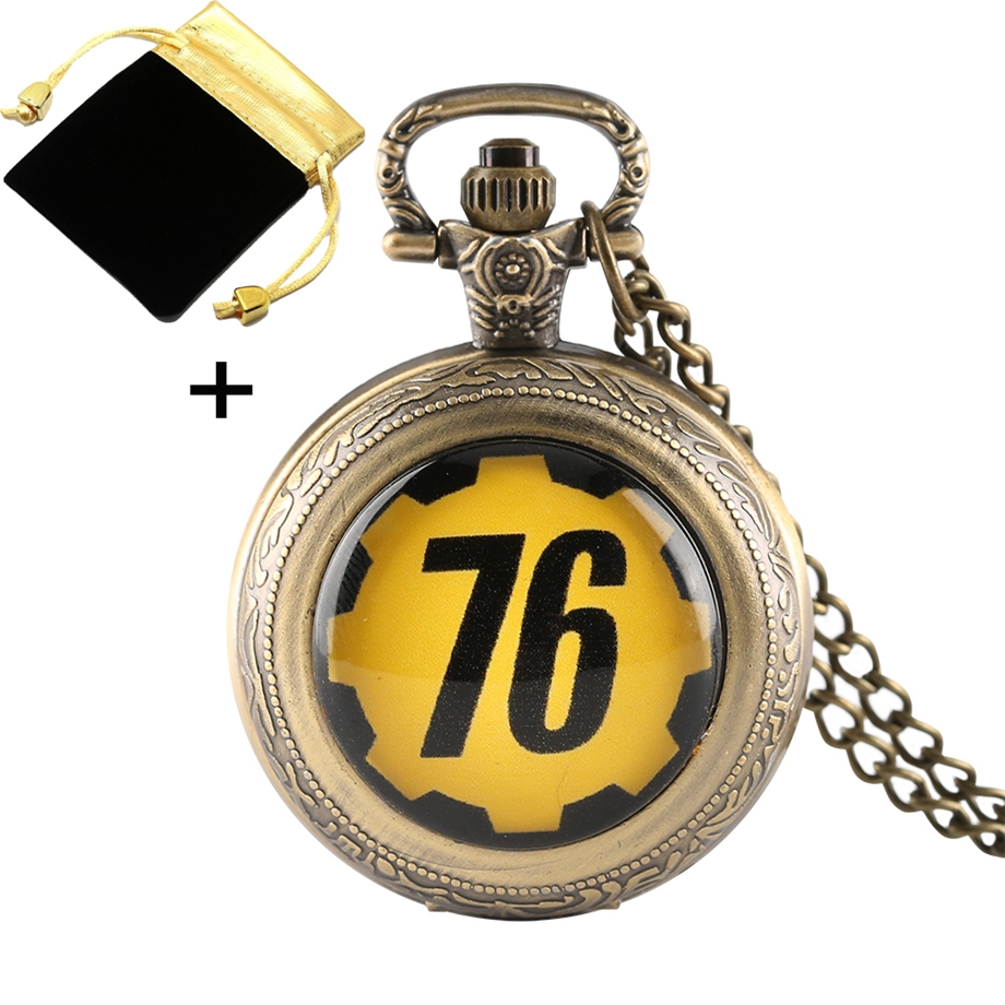 Retro FALLOUT 76 Theme Quartz Pocket Watch Men Clock Necklace Chain Gifts For Children Fob Watches With Bag/Box Relogio De Bolso