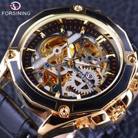 Forsining Transparent Case Gear Movement Steampunk Men Automatic Skeleton Watch Top Brand Luxury Open Work Design