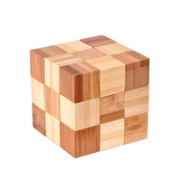 Eco Friendly Bamboo Wooden Toys 3D Magic Cube Puzzle For Kids