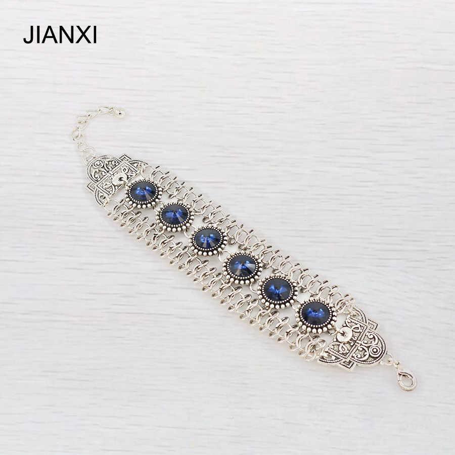 Jianxi新しいファッションチャームブレスレット&バングル卸売アンティークシルバーメッキクリスタルブレスレットバングル女性ジュエリーギフト