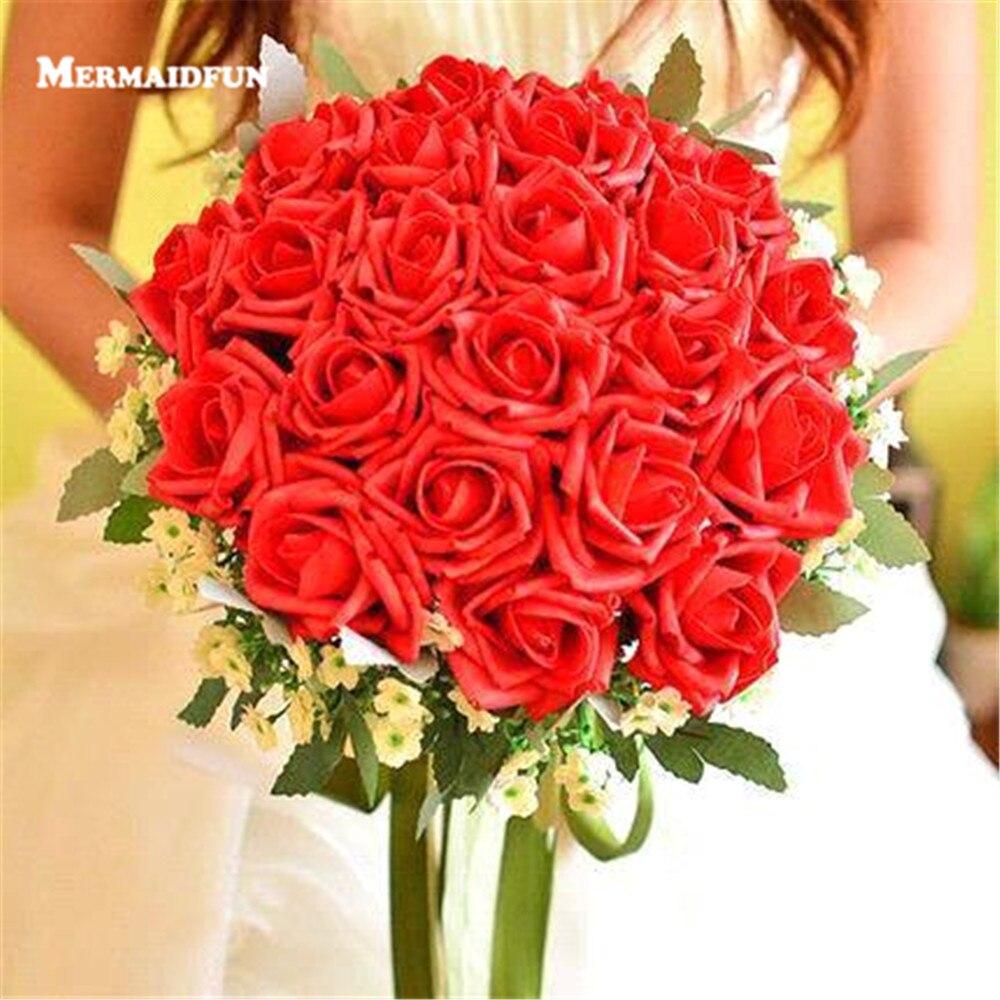 2018 Новый слоновой кости красные, синие фиолетовый Искусственный Роуз Букеты Свадебные Свадебный букет невесты букет De Mariage bruidsboeket