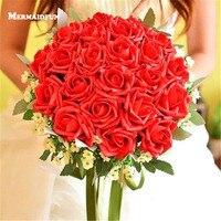 2018 New Ivory Czerwony Niebieski Fioletowy Sztuczna Róża Bukiet Ślubny Bukiet Ślubny Bukiet Druhny De Mariage Bruidsboeket