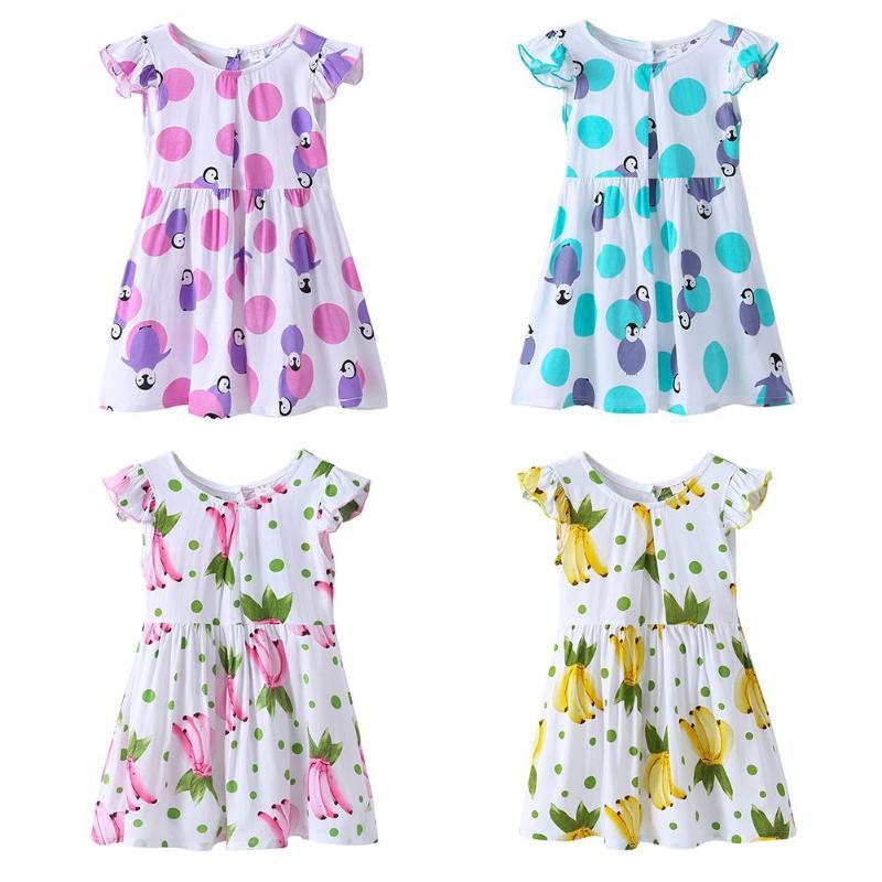 Summer Dress for Girls Children Clothing Beach Style Banana Dots Printed Short Sleeve Bow-Knot Casual Dresses Girls Tutu Dress стоимость