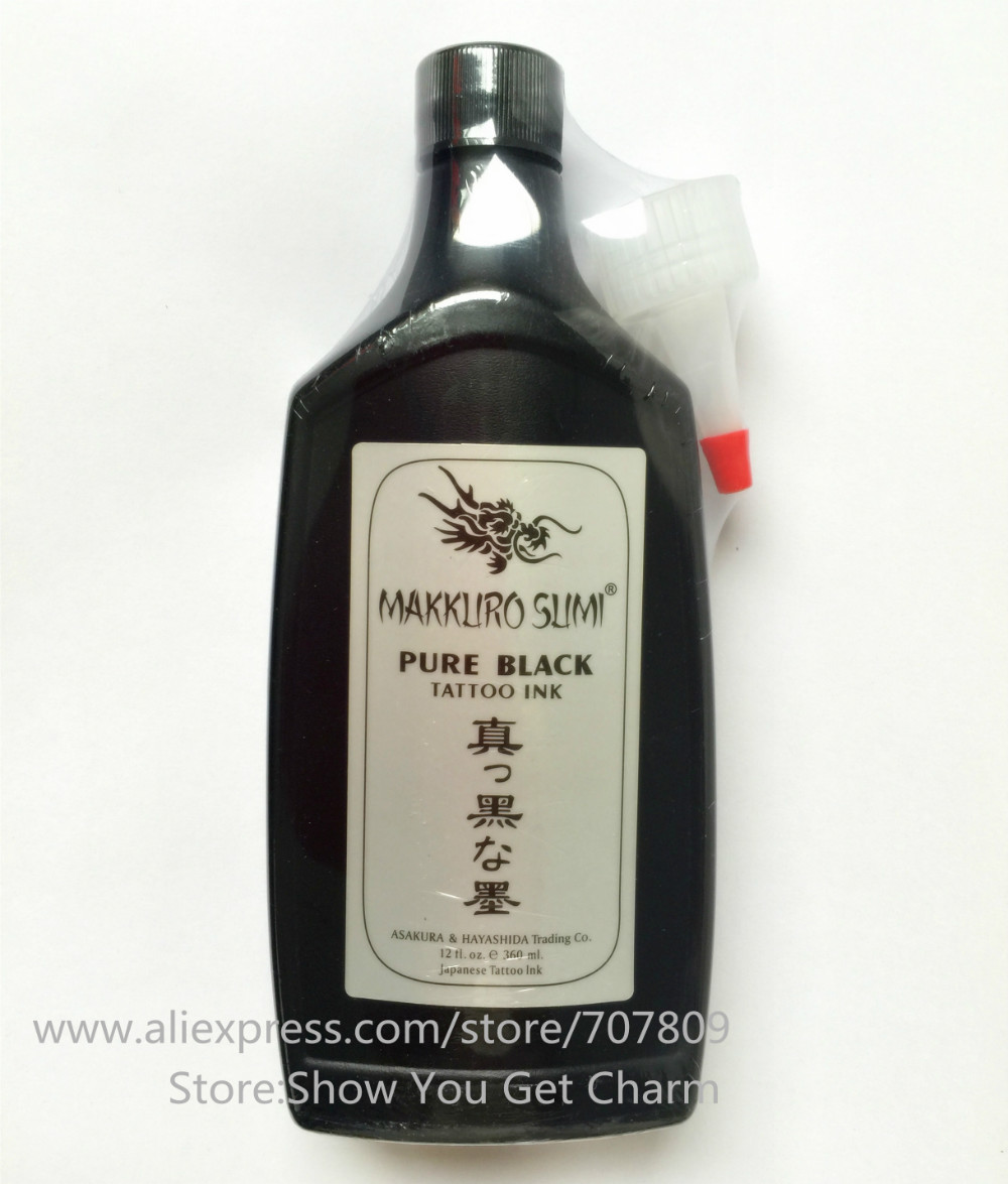 Free shipping 12OZ Super Black MAKKRUO SUMI Tattoo Outlining Ink - Тату және дене өнері - фото 1