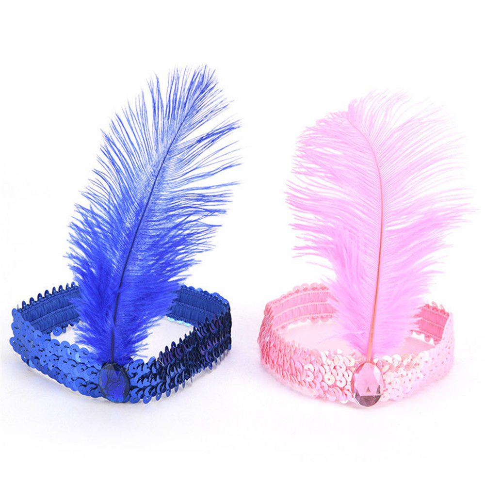 Sequined Hairband Ostrich Hair Accessories Hairband COS Indian Feather Hair Accessories with Womens Clothing Solid Multicolor
