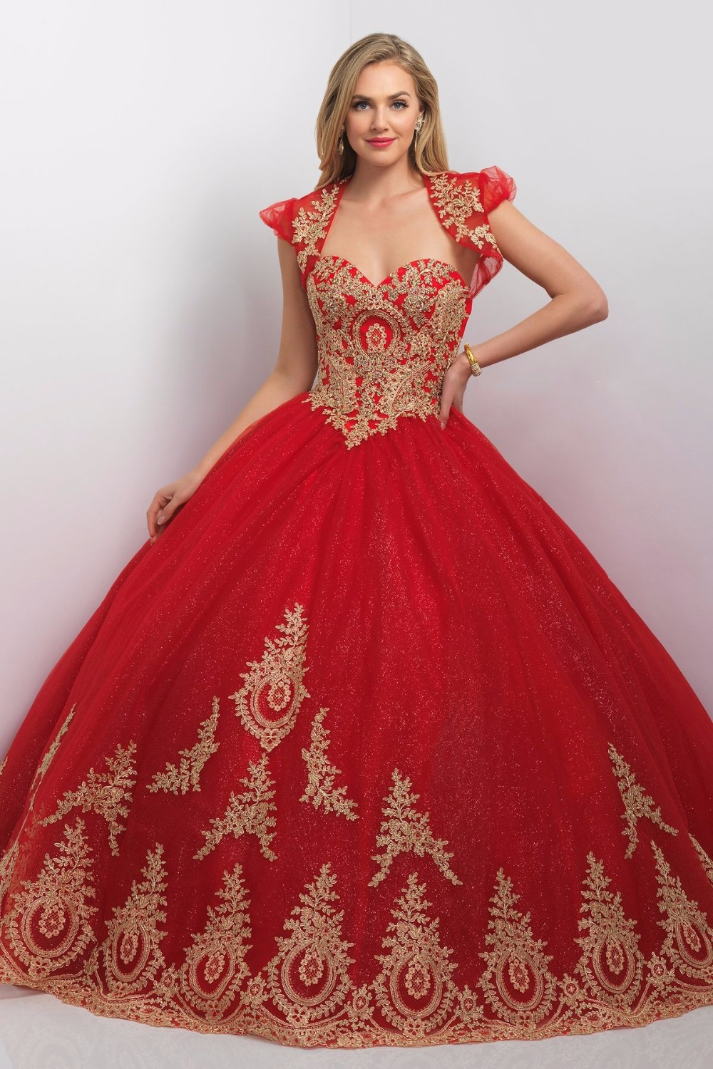 Princess Ball Gown Red Gold Quinceanera Dresses With Jacket New