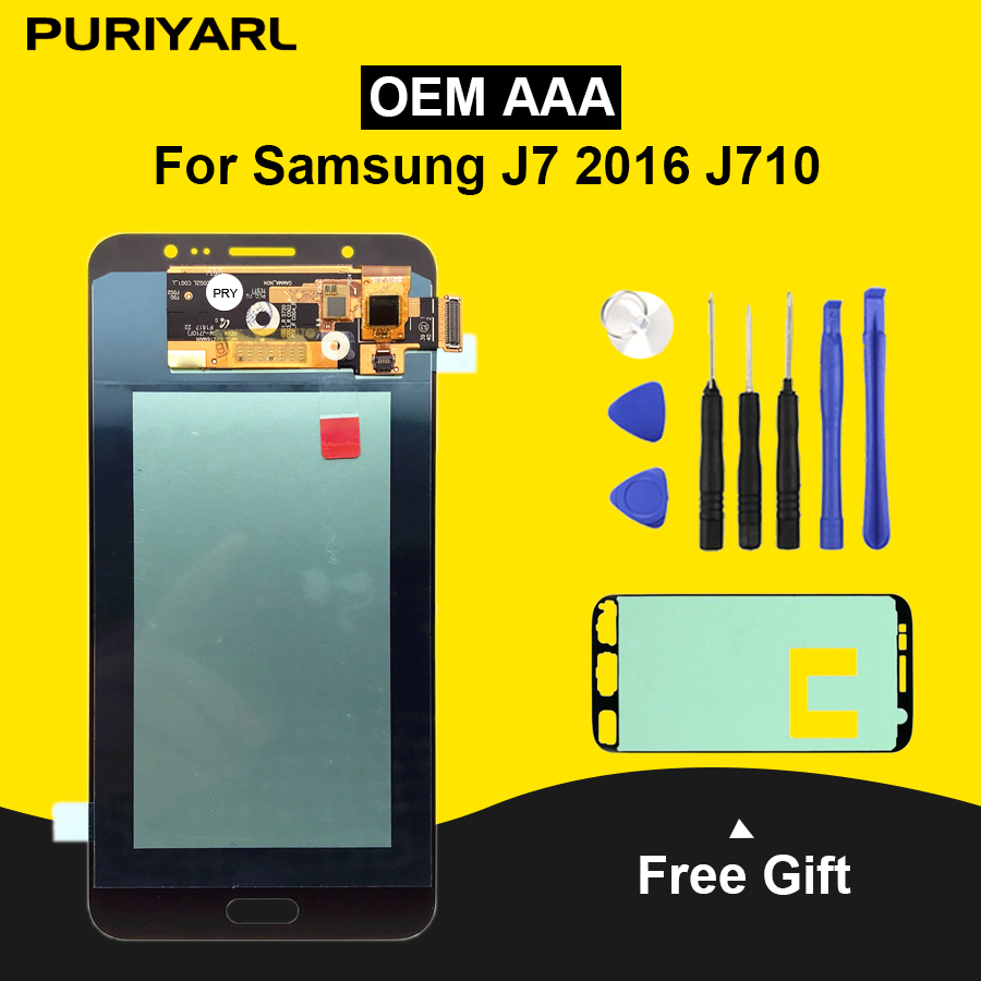 AAA AMOLED Pantalla LCD Per Samsung Galaxy J7 2016 J710FN J710F J710M LCD Display Touch Screen di Ricambio Digitizer Assembly
